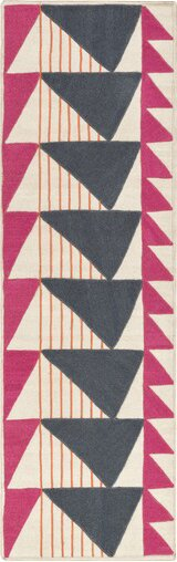 Catchings Hand-Woven Charcoal/Magenta Area Rug by Brayden Studio
