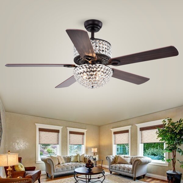 52 Laure Crystal 6 Light 5 Blade Ceiling Fan by Warehouse of Tiffany