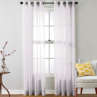 Caldera Sheer Solid Grommet Curtain Panel (Set of 2)