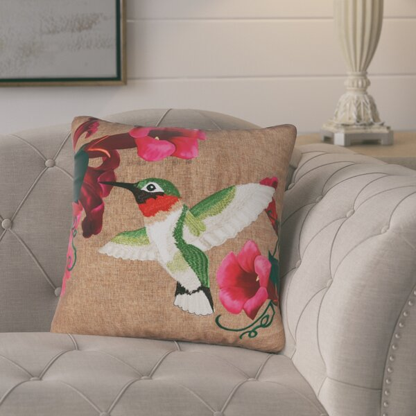 Dewey Hummingbird Indoor/Outdoor Throw Pillow by August Grove