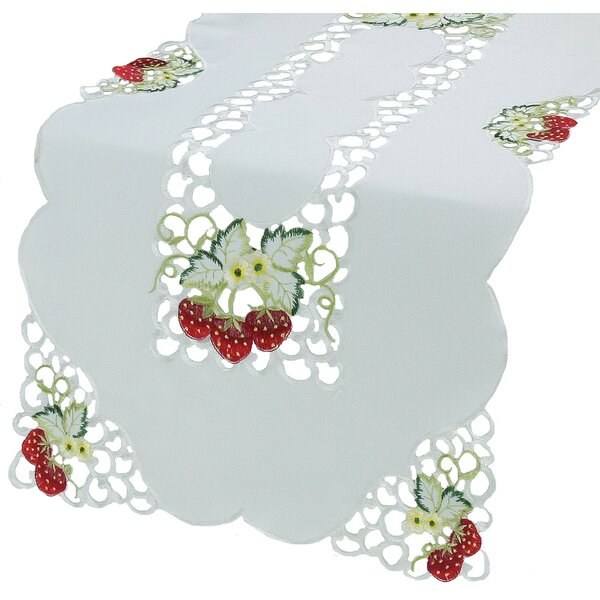 Strawberry Embroidered Cutwork Table Runner by Xia Home Fashions
