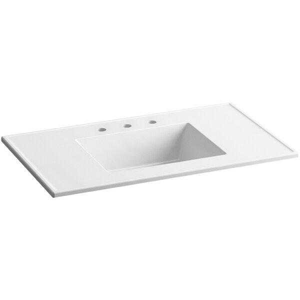Ceramic Impressions Ceramic Rectangular Drop-In Bathroom Sink with Overflow by Kohler