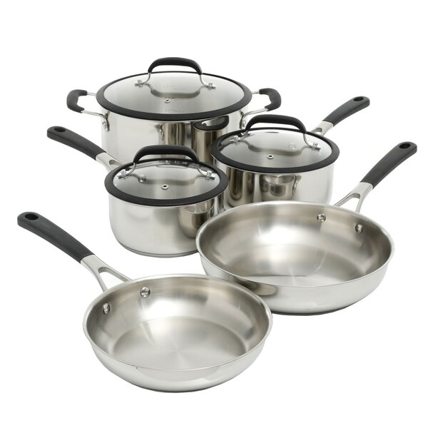 Lexie 8 Piece Non-Stick Stainless Steel Cookware Set by Symple Stuff