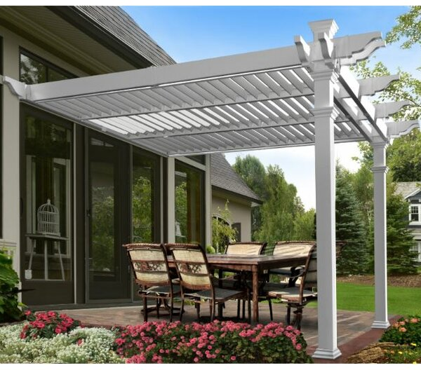 Elysium 12 Ft. W x 12 Ft. D Vinyl Pergola by New England Arbors