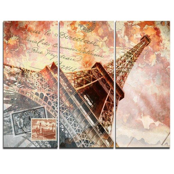 Eiffel Tower Paris - 3 Piece Graphic Art on Wrapped Canvas Set by Design Art