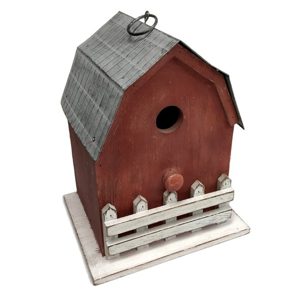 Wood and Metal 10.3 in x 8.3 in 6.8 in Barn Birdhouse by Wilco Home