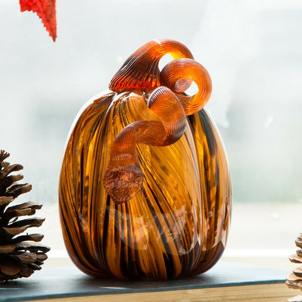 Striped Glass Pumpkin by The Holiday Aisle