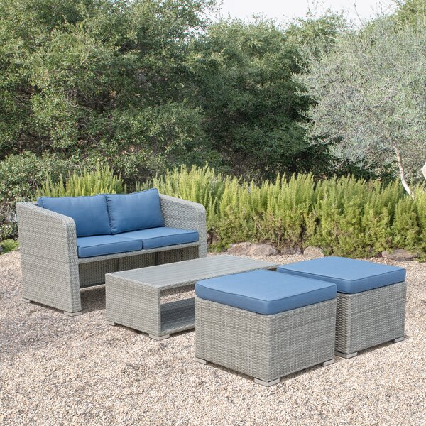 Ewart 4 Piece Sofa Set with Cushions by Highland Dunes