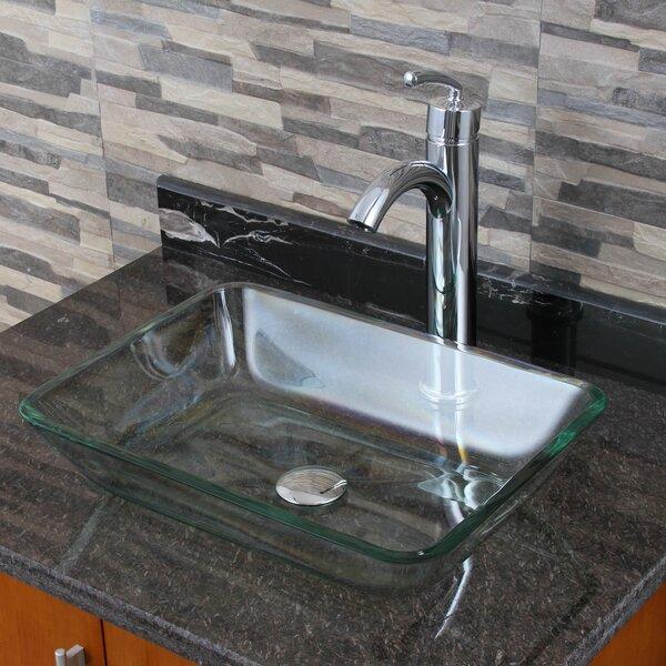 Elite Glass Rectangular Vessel Bathroom Sink by El