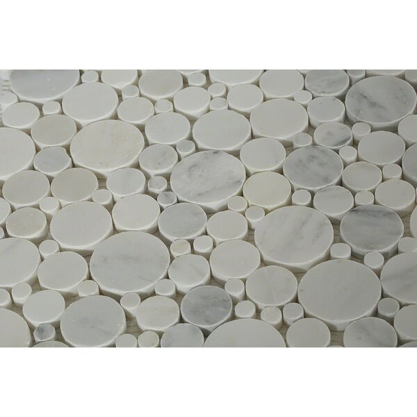 Orbit Oriental Circles Random Sized Marble Mosaic in Gray by Splashback Tile