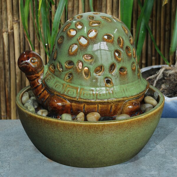 Ceramic Turtle in Bowl Fountain with Light by Hi-Line Gift Ltd.