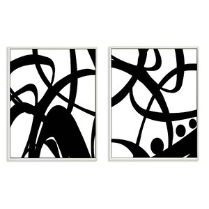 Black and White Swirls 2 Piece Graphic Wall Plaque Set by Stupell Industries