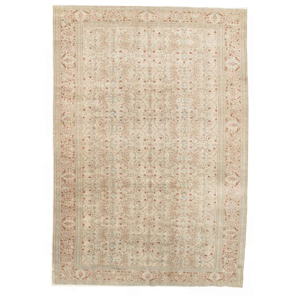 Turkish Hand-Knotted Wool Ivory Area Rug by Pasargad NY