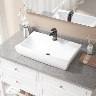 Compare & Buy Vitreous China Rectangular Vessel Bathroom Sink with Faucet By MR Direct