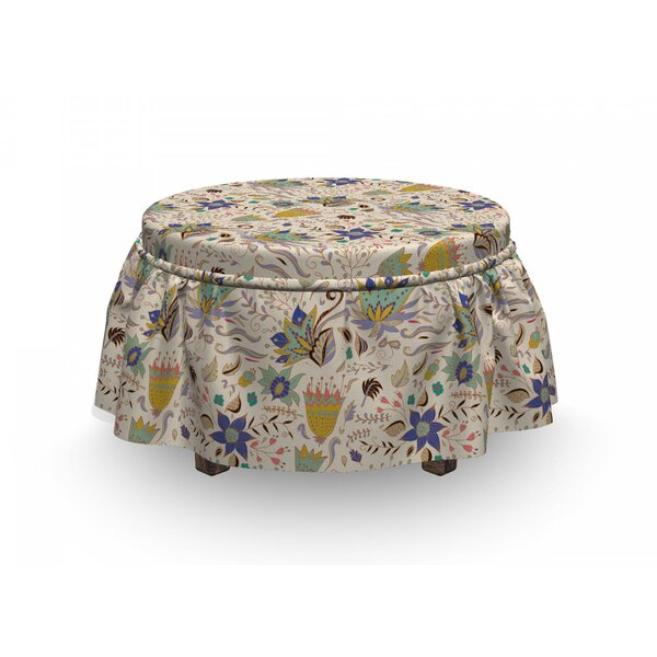Abstract Garden Art Ottoman Slipcover (Set Of 2) By East Urban Home