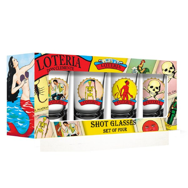 Loteria Male Characters 2 oz. Shot Glass/Shooter (Set of 4) by PB