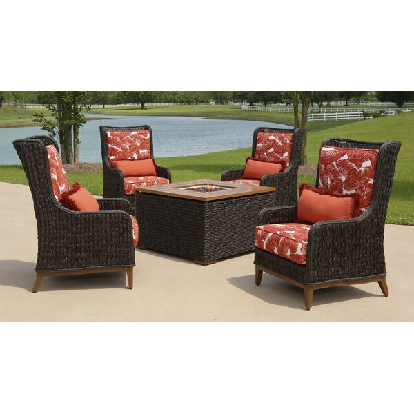 Rio 5 Piece Rattan Sunbrella Multiple Chairs Seating Group with Cushion by Brayden Studio