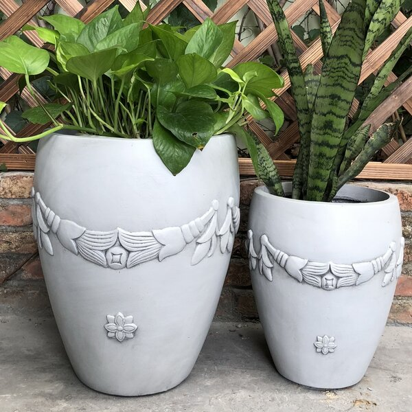 Ollert Garland Rimless 2-Piece Pot Planter Set by Charlton Home
