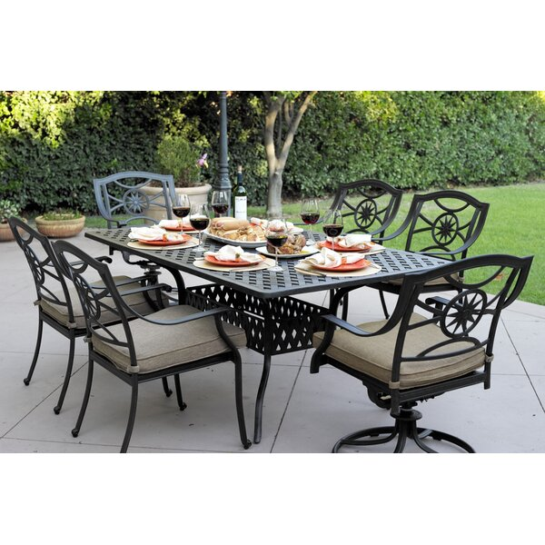 Thompsontown 7 Piece Dining Set with Cushion by Alcott Hill