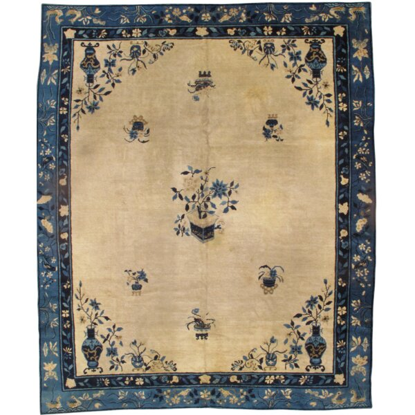 Chinese Peking Hand-Knotted Wool Ivory/Blue Area Rug