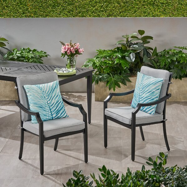Penton Outdoor Patio Dining Chair with Cushions (Set of 2) by Alcott Hill