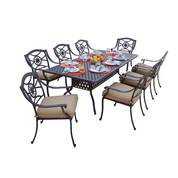 Thompsontown 9 Piece  Powder-Coated Dining Set with Cushions by Alcott Hill