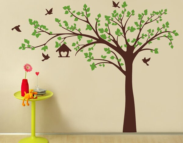 Pop Decors Big Tree With Love Birds Wall Decal U0026 Reviews | Wayfair