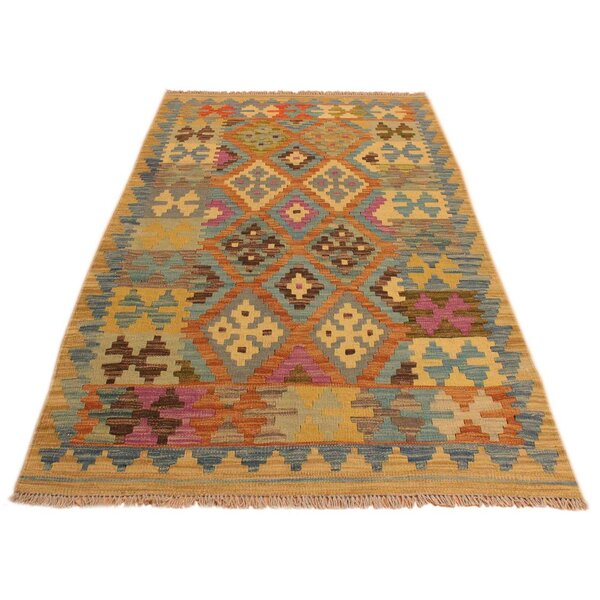 One-of-a-Kind Aalborg Hand-Woven Blue/Beige Area Rug by Isabelline