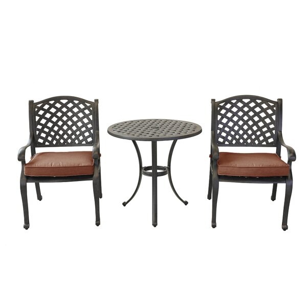 Eamor 3 Piece Bistro Set with Cushions by Charlton Home