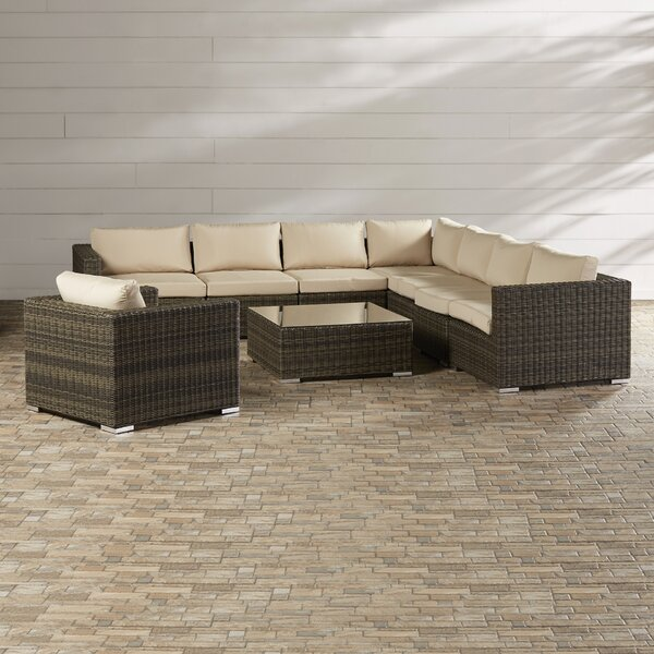 Coast 9 Piece Rattan Sectional Seating Group with Sunbrella Cushions by Sol 72 Outdoor Sol 72 Outdoor