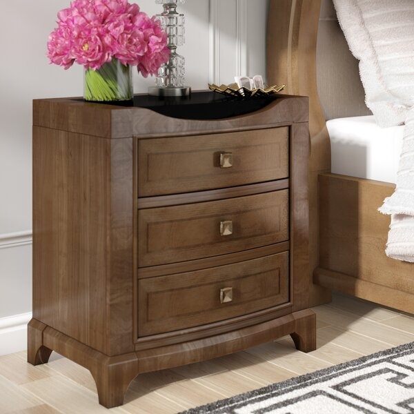 Alcalde 3 Drawer Black Top Nightstand By Willa Arlo Interiors