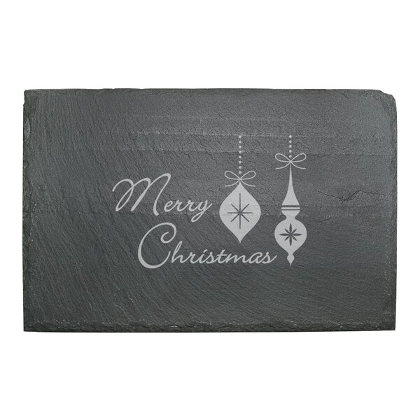 Merry Christmas Ornaments Slate Cheese Server by S