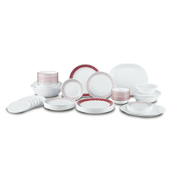 Crimson Trellis Living Ware 74 Piece Dinnerware Set, Service for 12 by Corelle