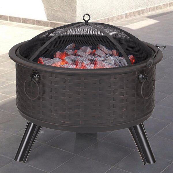 Sheet Metal Steel Charcoal Fire Pit by Adeco Trading