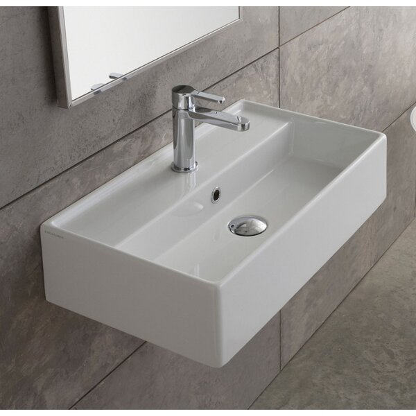 Teorema Ceramic 16 Wall Mount Bathroom Sink with Overflow by Scarabeo by Nameeks