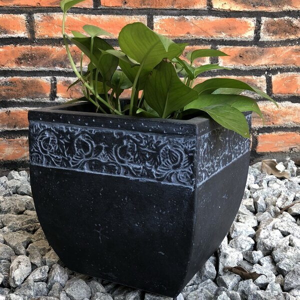 Normant Carved Cube Pot Planter by Charlton Home