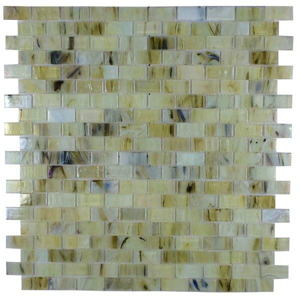 Versa 13 x 12 Glass Mosaic Tile in Cream by Byzantin Mosaic