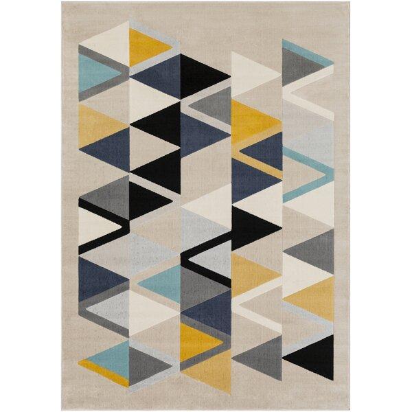Bahr Geometric Mustard/Aqua Area Rug by George Oliver