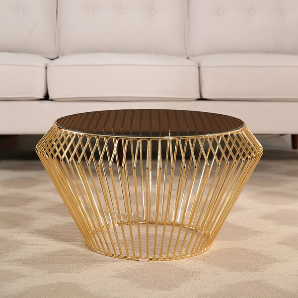 Brooklyn Rose Gold Stainless Steel Coffee Table by Ivy Bronx