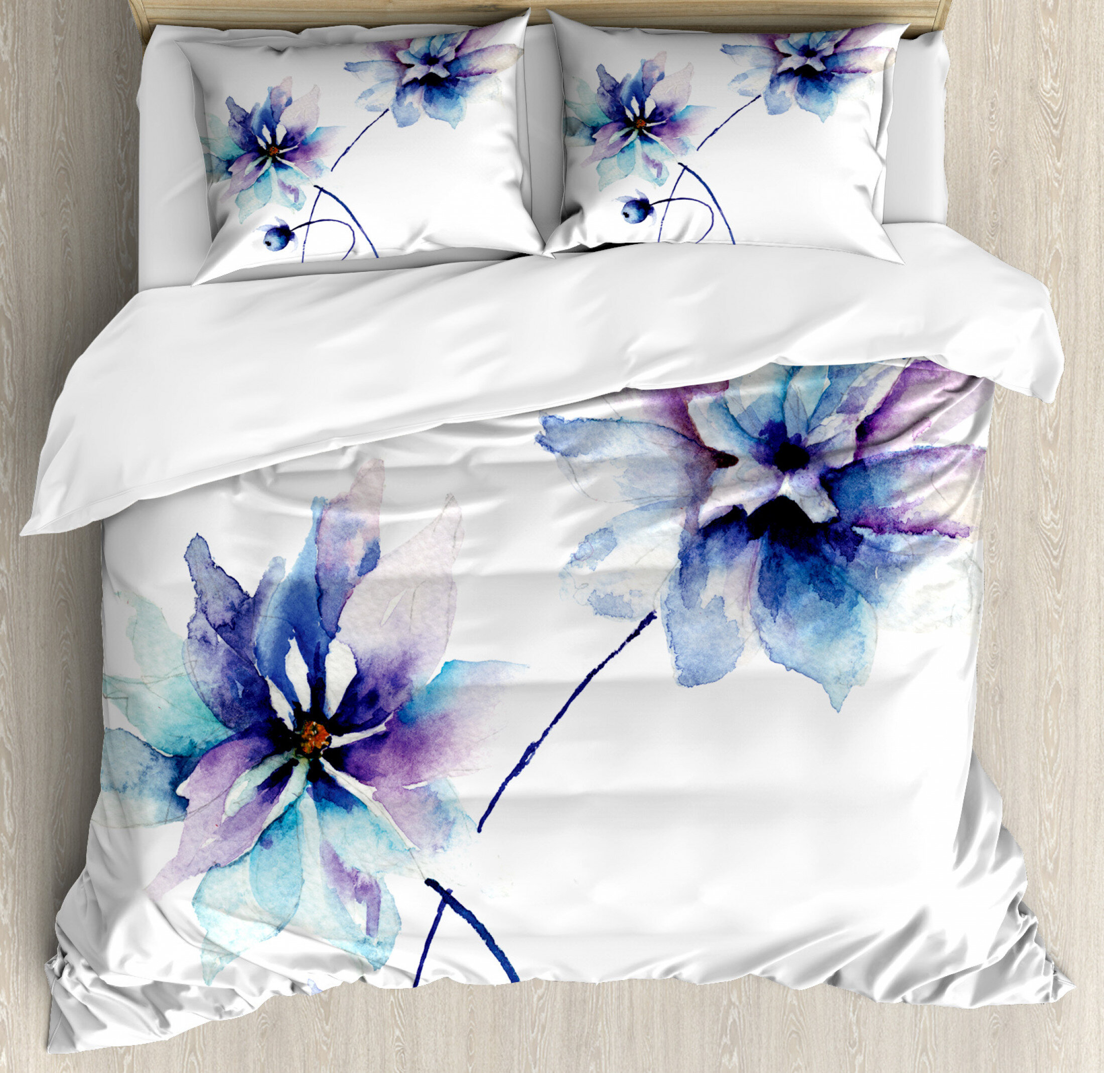 Watercolor Flower Duvet Cover Set