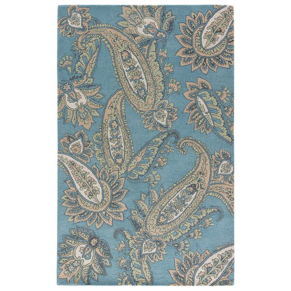 Farnsworth Hand-Tufted Smoke Blue/Candied Ginger Area Rug by Alcott Hill