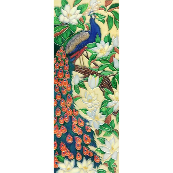 Vertical Peacock Tile Wall Decor by Continental Art Center