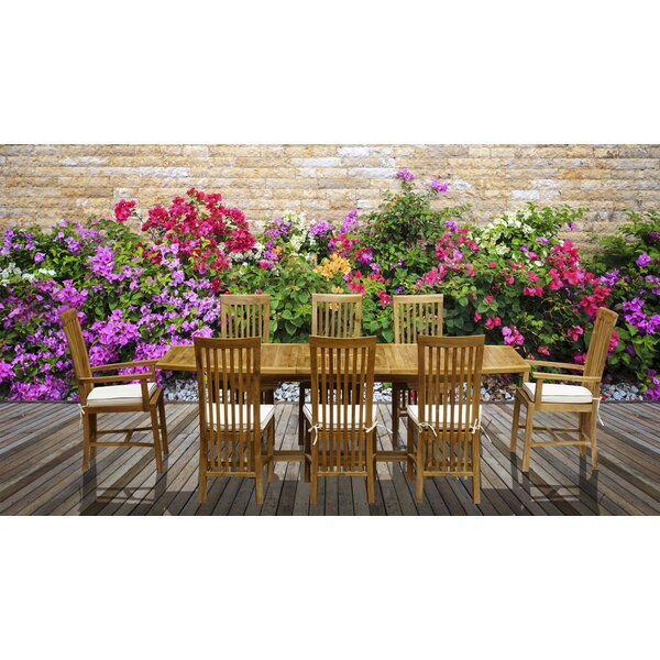 9 Piece Teak Dining Set with Cushions by Darby Home Co