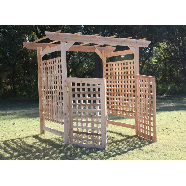 Oversized Lattice Cedar Wood Arbor with Gate by Threeman Products