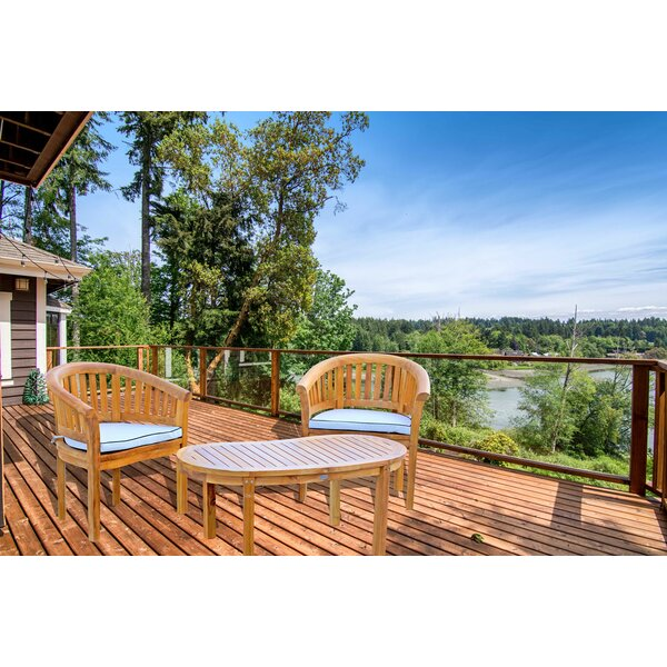 Meyer 3 Piece Teak Sunbrella Seating Group with Sunbrella Cushions by Bay Isle Home