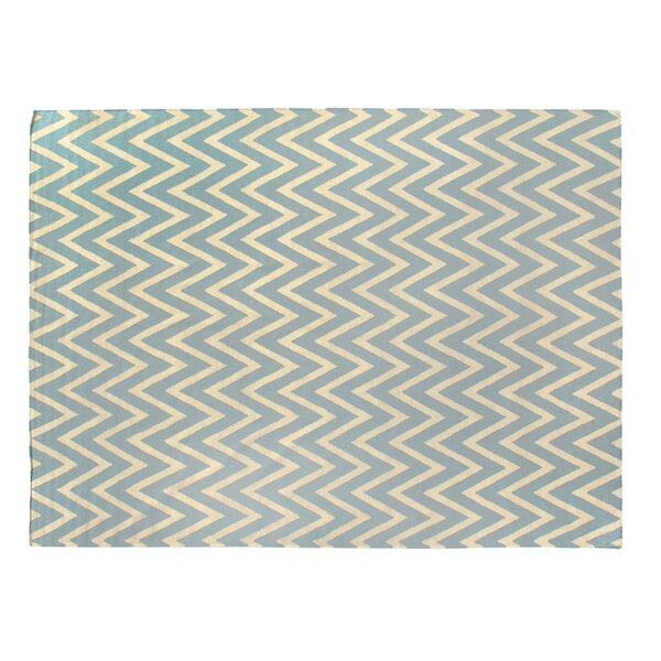 Hand-Woven Wool Cream/Turquoise Area Rug by Exquisite Rugs