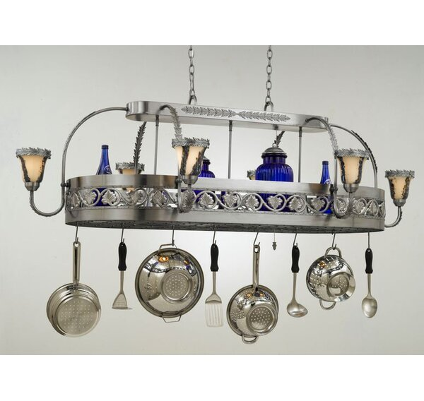 Leaf Chandelier Pot Rack with Shade by Hi-Lite