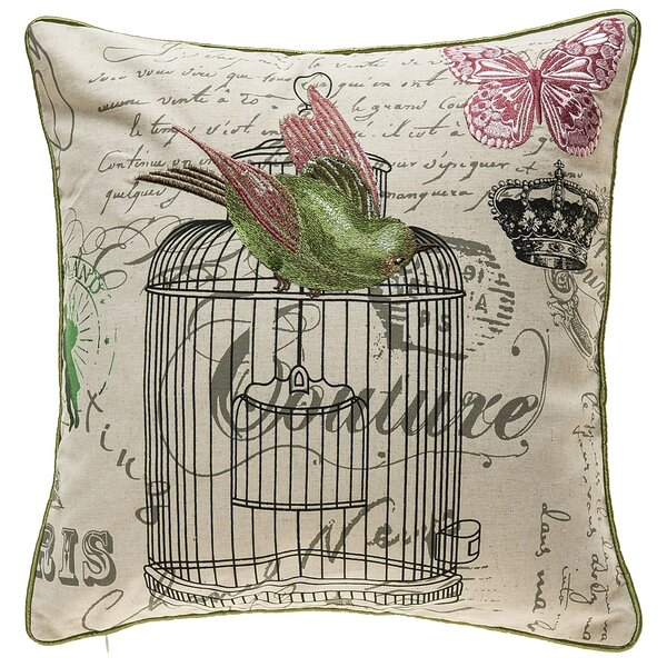 Kinzel Vintage Bird Cage Throw Pillow by Ophelia & Co.