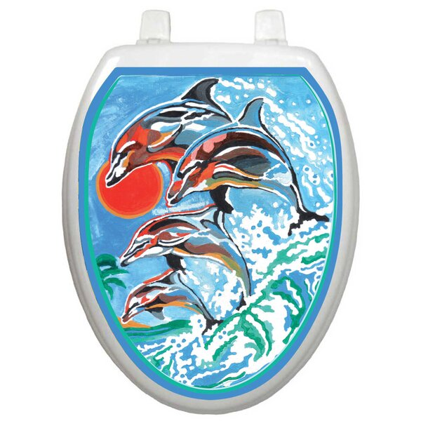 Themes Dolphins Toilet Seat Decal by Toilet Tattoos