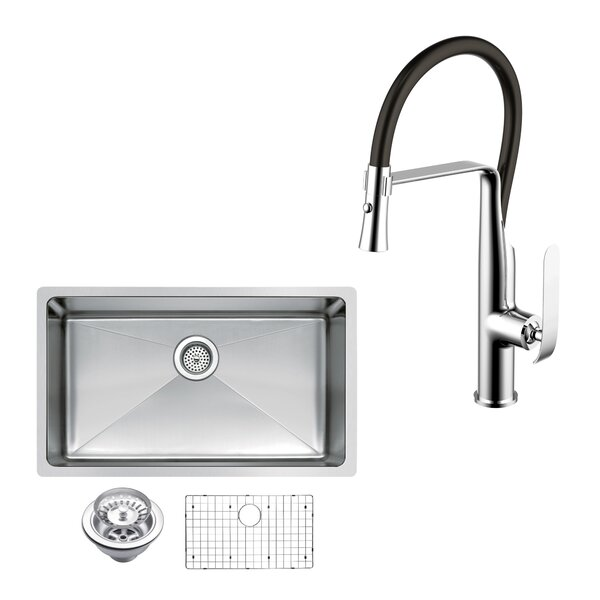 All-in-One Stainless Steel 30 L x 18 W Undermount Kitchen Sink with Faucet by dCOR design